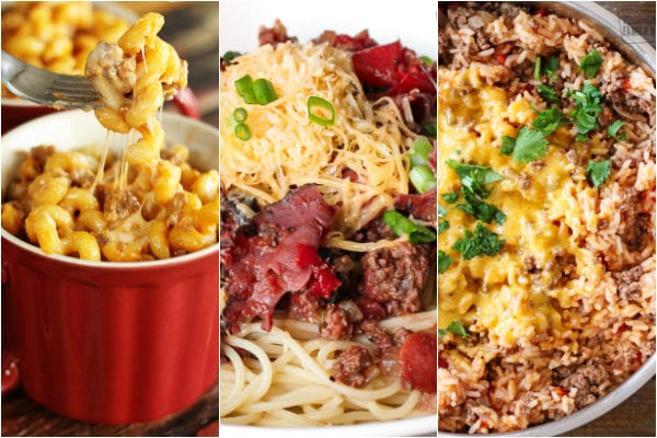 Ground beef skillet recipes including beef and noodle skillet, cowboy spaghetti, and beef and rice skillet