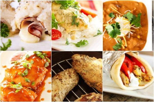 Collage of Instant Pot and Crock Pot Chicken recipes