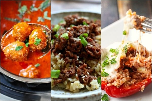 Instant Pot Ground beef recipes including meatballs, Korean beef, and stuffed peppers