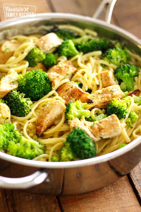 Overhead shot of Creamy Garlic Noodles in a pot