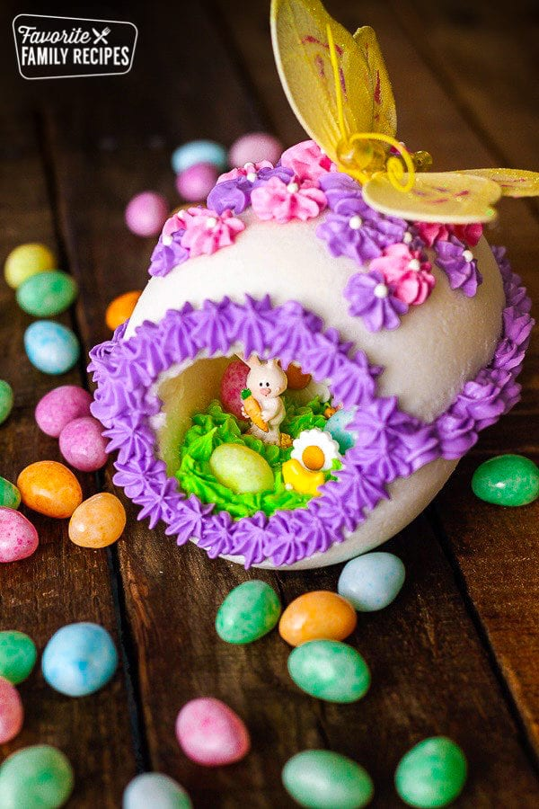 Above view of a Panoramic Easter Egg surrounded by jelly beans