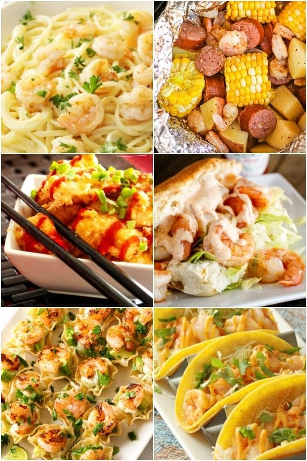 Collage of tasty shrimp recipes