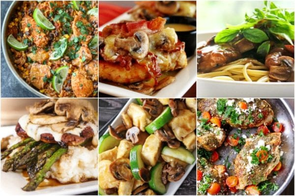 Collage of Skillet Chicken recipes including Alice Springs Chicke, Santa Fe Chicken skillet, and Chicken Madeira