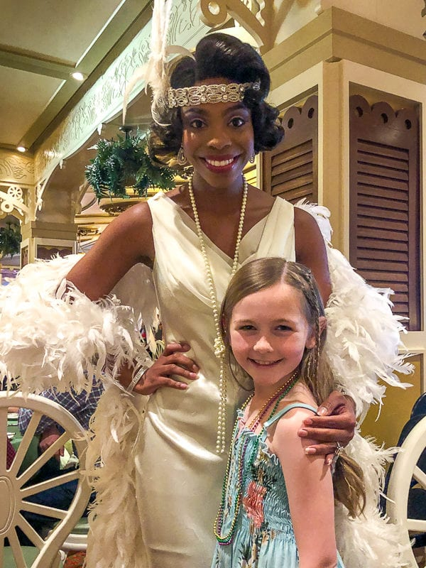 Piper with Tiana in Tiana's place on the Disney Magic Cruise