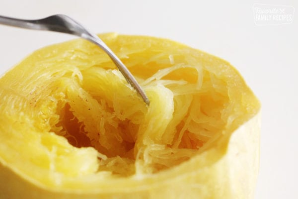 Close up of half of a cooked spaghetti squash