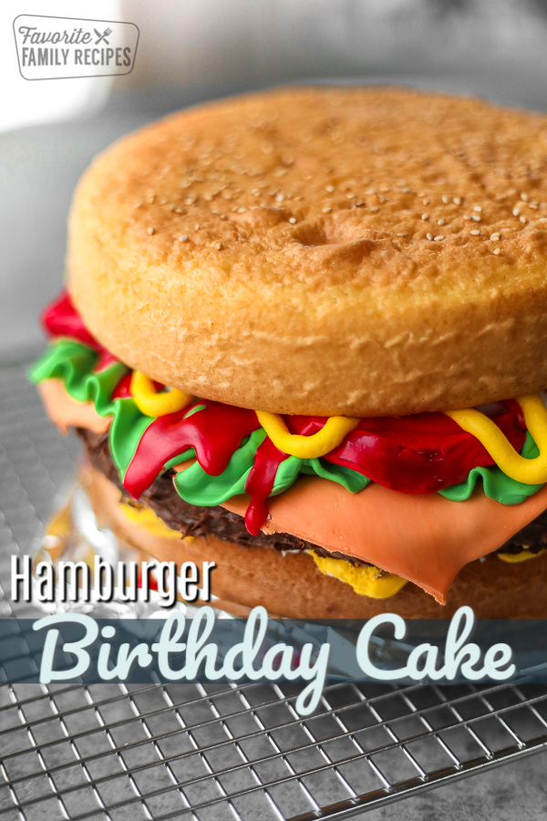 Hamburger Birthday Cake made with fondant and frosting for toppings