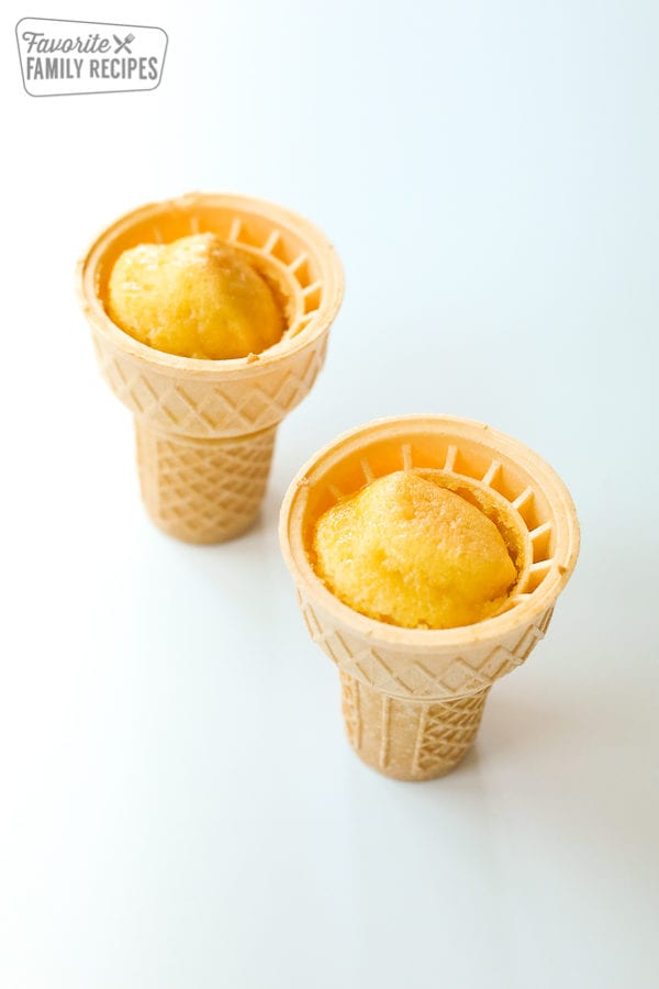Two Ice Cream Cones filled with cake batter