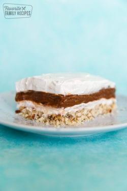 Close up view of mud pie layered dessert