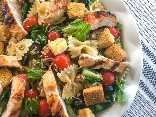 chicken caesar salad with pasta