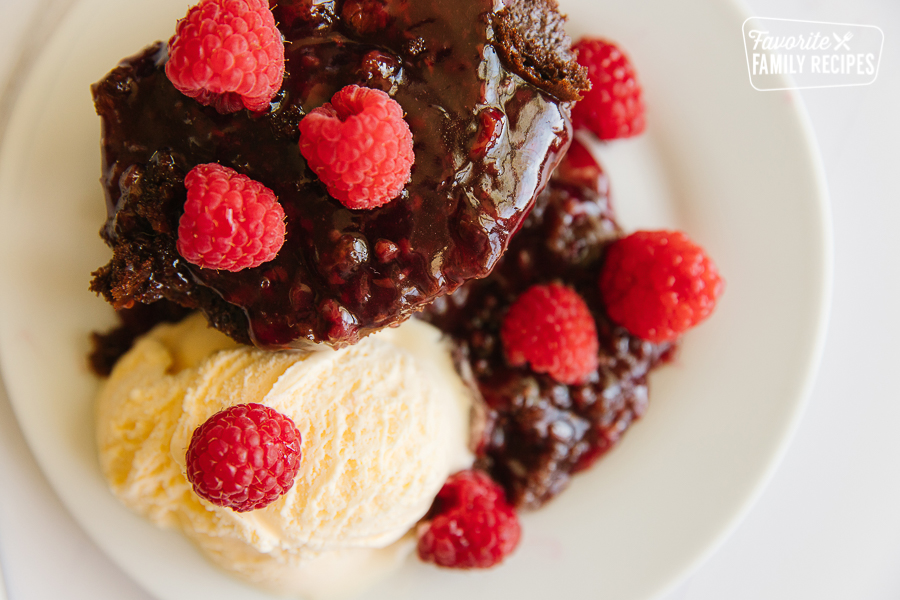 Chocolate Raspberry Cake and a plate with ice cream and fresh raspberries