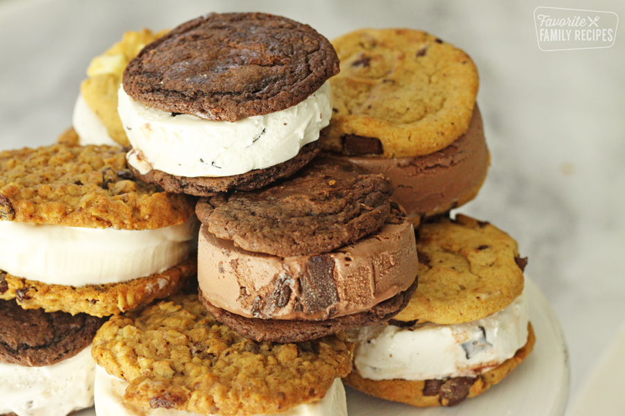 pile of ice cream cookie sandwiches