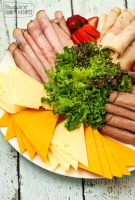 Platter with deli meats and cheeses
