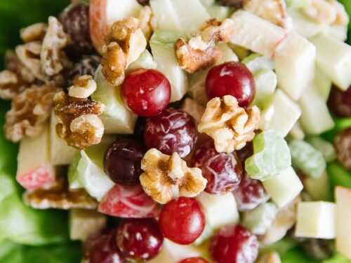 Waldorf salad with grapes and apples on a bed of butter lettuce