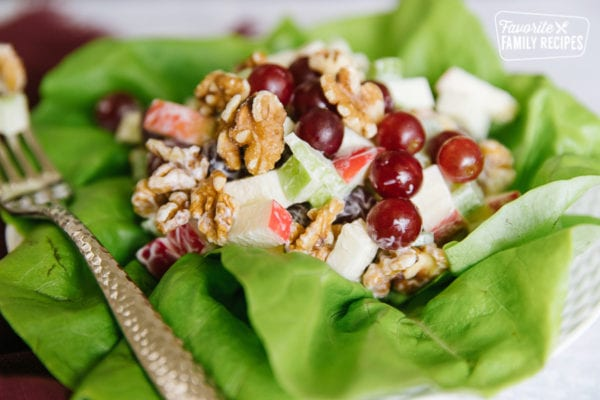 Side view of a Waldorf salad with apples, grapes, celery, and walnuts