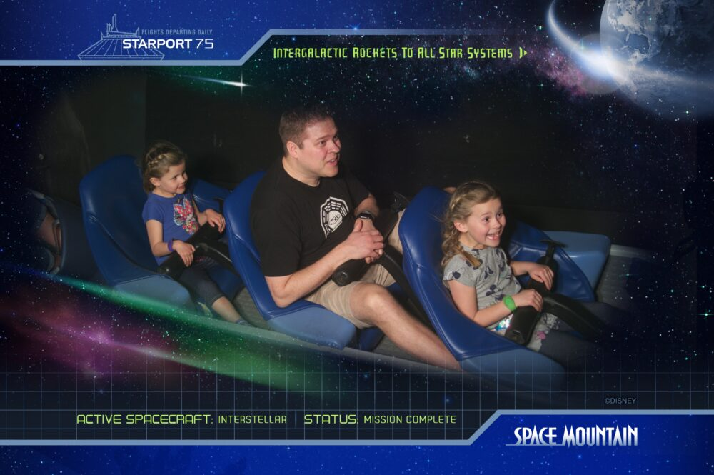 Jared Andie and Gracie on Space Mountain Ride in Magic Kingdom