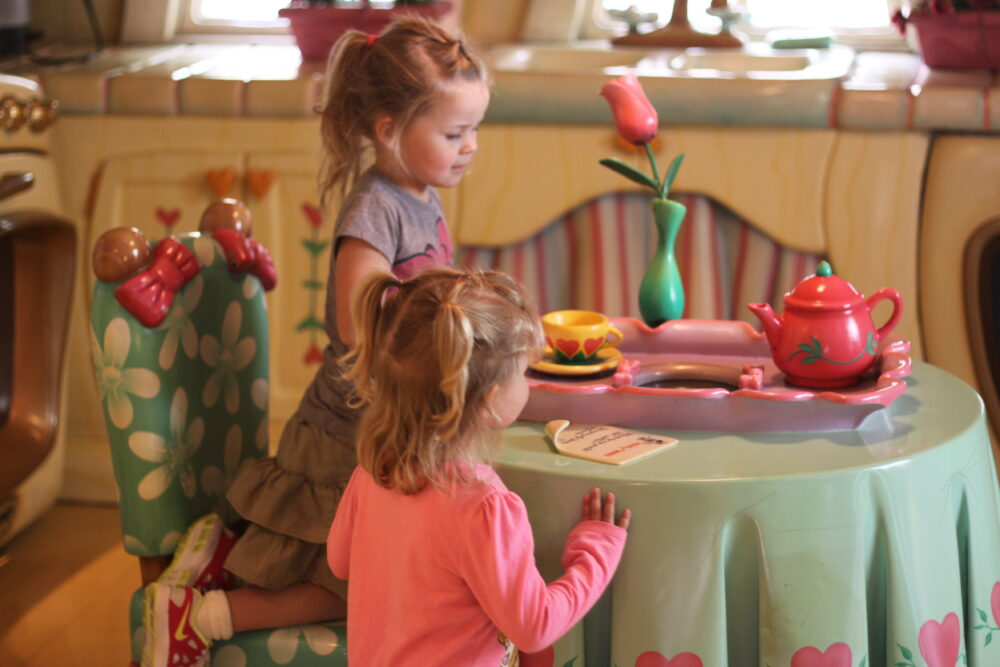 Andie and Gracie in Minnie's house at Disneyland