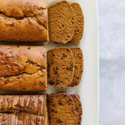 3 loaves of pumpkin bread made 3 ways