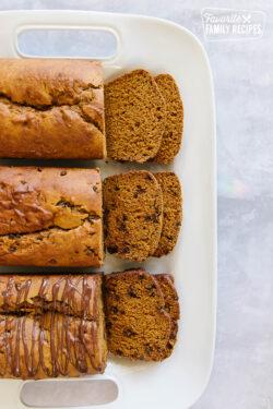 3 loaves of pumpkin bread made 3 ways