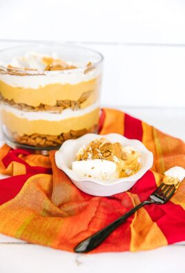 Pumpkin Trifle with crumbled ginger cookies in a dish