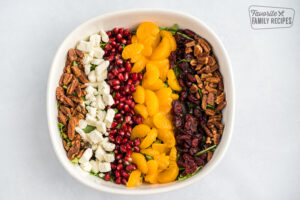 Christmas Salad toppings in a white bowl