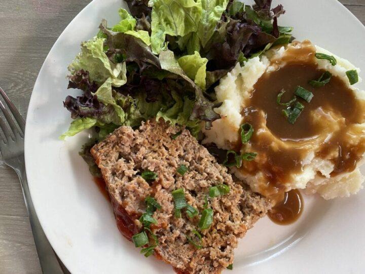 Meatloaf dinner on a plate