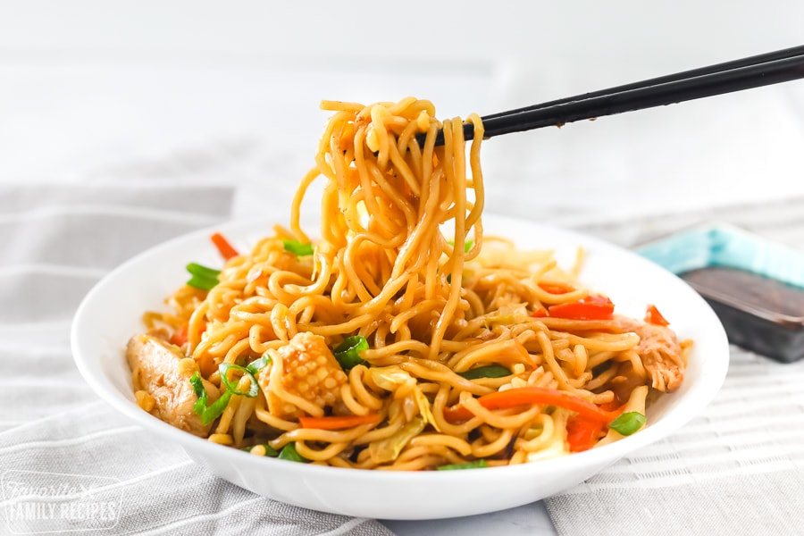 Dish with Yakisoba noodles and chopsticks