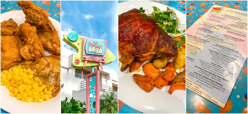 50s Prime Time Cafe Menu Items and Sign in Disneys Hollywood Studios