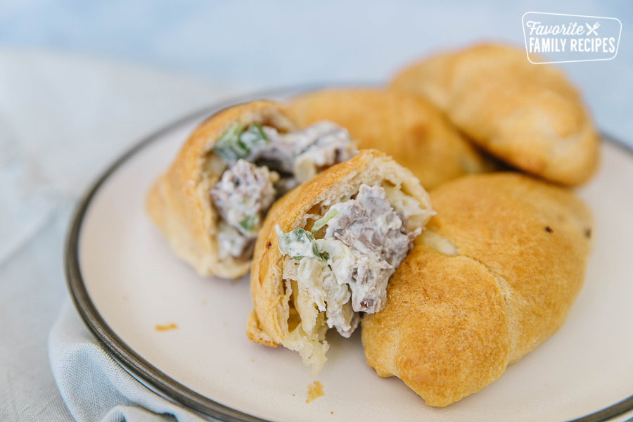 Creamy Cheesesteak Crescent rolls on a plate