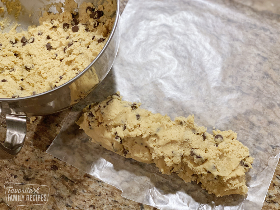 Cookie dough in a loaf for freezing