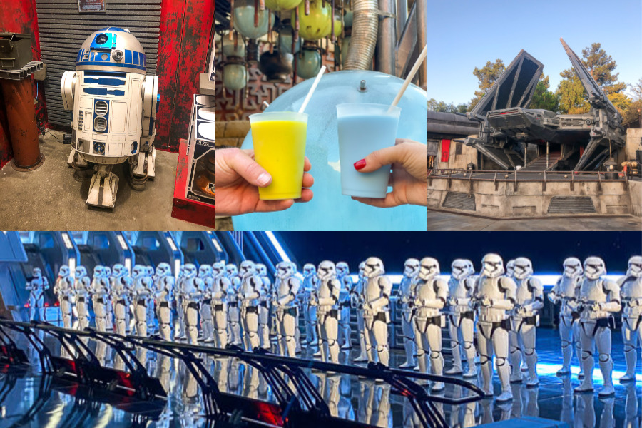 A collage of things you can find in Galaxys Edge - R2D2, green milk and blue milk, spaceships, and Stormtrooper