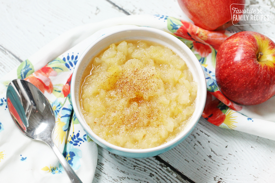Homemade applesauce in a bowl