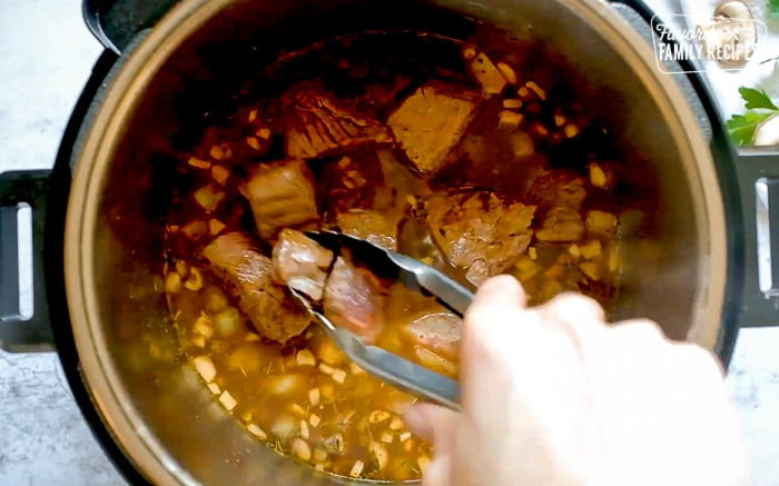 Adding Beef Back into Broth and Veggies