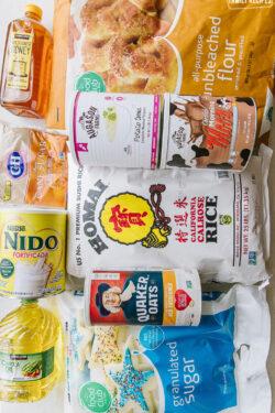 Long term food storage products - rice, dry mil, flour oats, honey, oil, flour