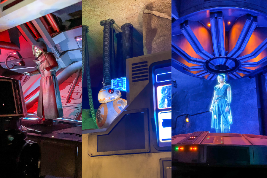A collage of pictures from the Rise of the Resistance attraction in Galaxy's Edge - including Kylo Ren, Rey, and BB8.
