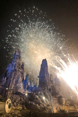 Fireworks going off over Galaxy's Edge at Disneyland.