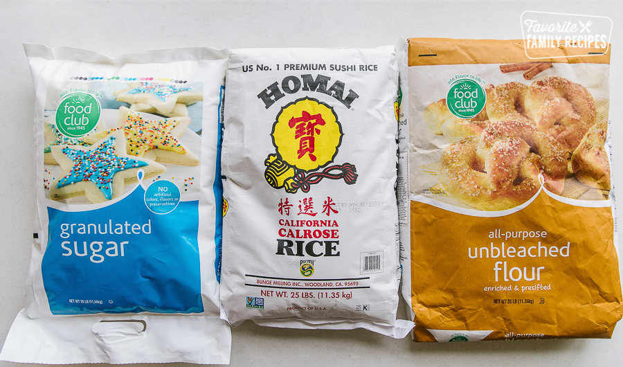 Bags of rice, flour, and sugar for long term food storage