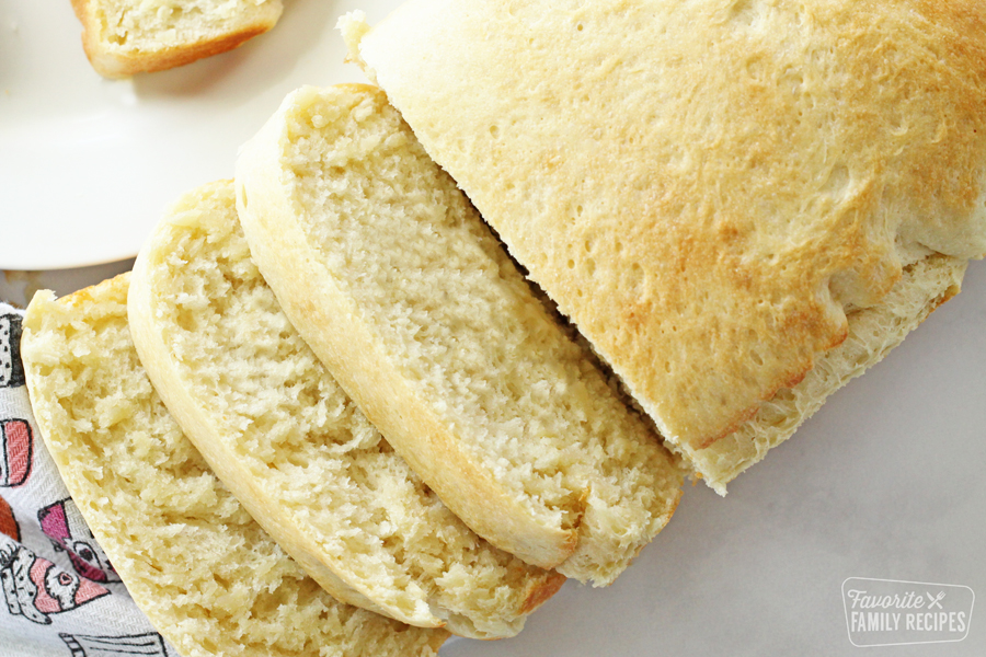 Sliced warm bread