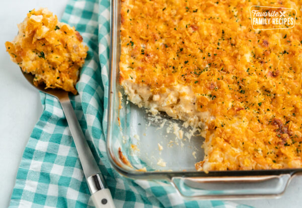 Cheesy Potato Casserole in a glass baking dish