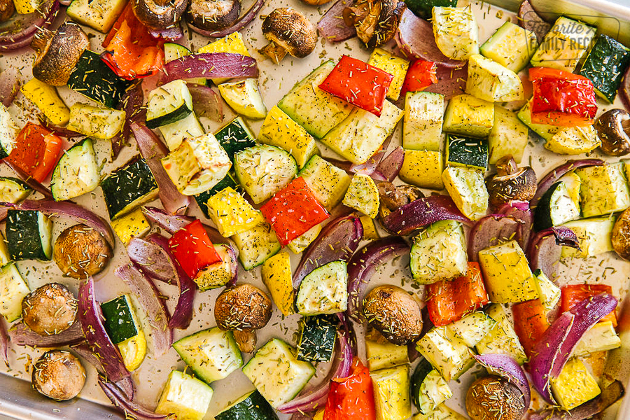 A roasting pan filled with oven roasted vegetables