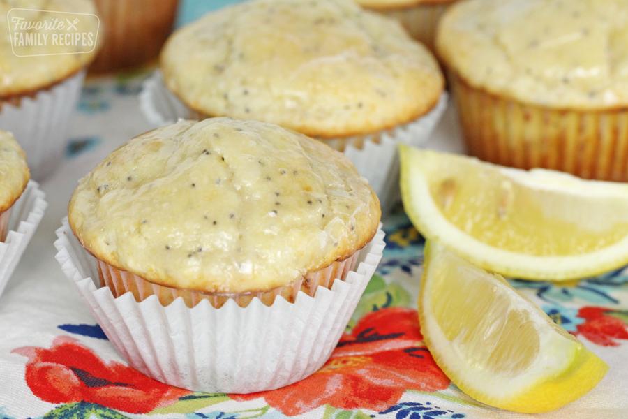 Lemon poppy seed muffins with sliced lemon