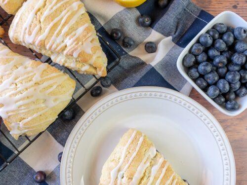 a lemon blueberry scone on a plate