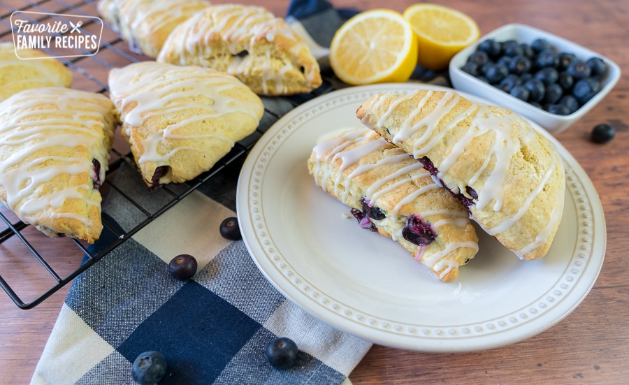 Lemon Blueberry Scones on a plate with a blue and white checkered napkin