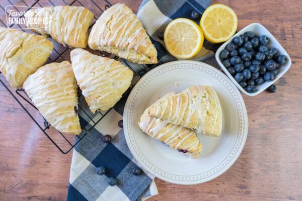 lemon blueberry scones on a cooling rack