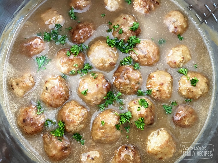 Swedish meatballs in sauce in an Instant Pot