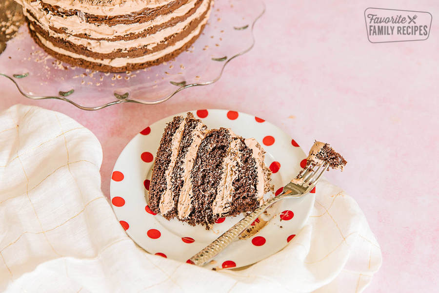 A slice of twice chocolate torte on a white plate with red polka dots