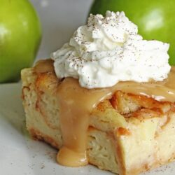Bread pudding with caramel sauce and whipped cream