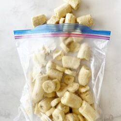Frozen banana pieces in a bag
