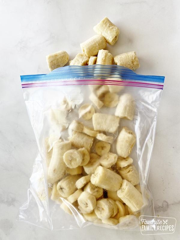 Frozen bananas in a freezer bag