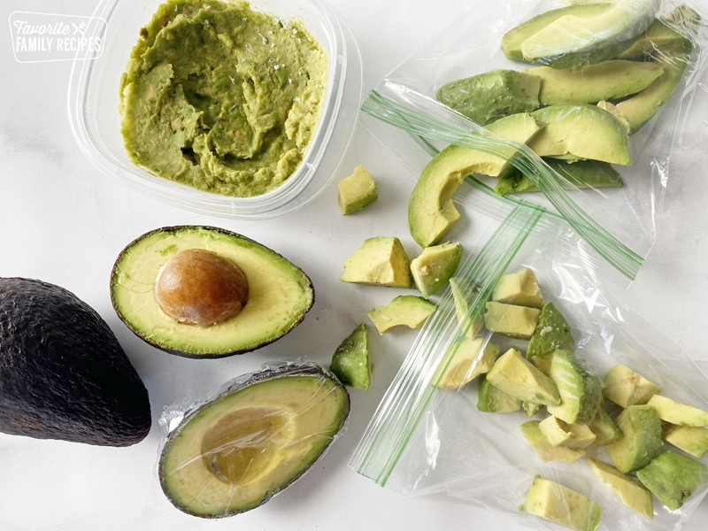 Avocado that has been sliced, cubed and mashed to freeze