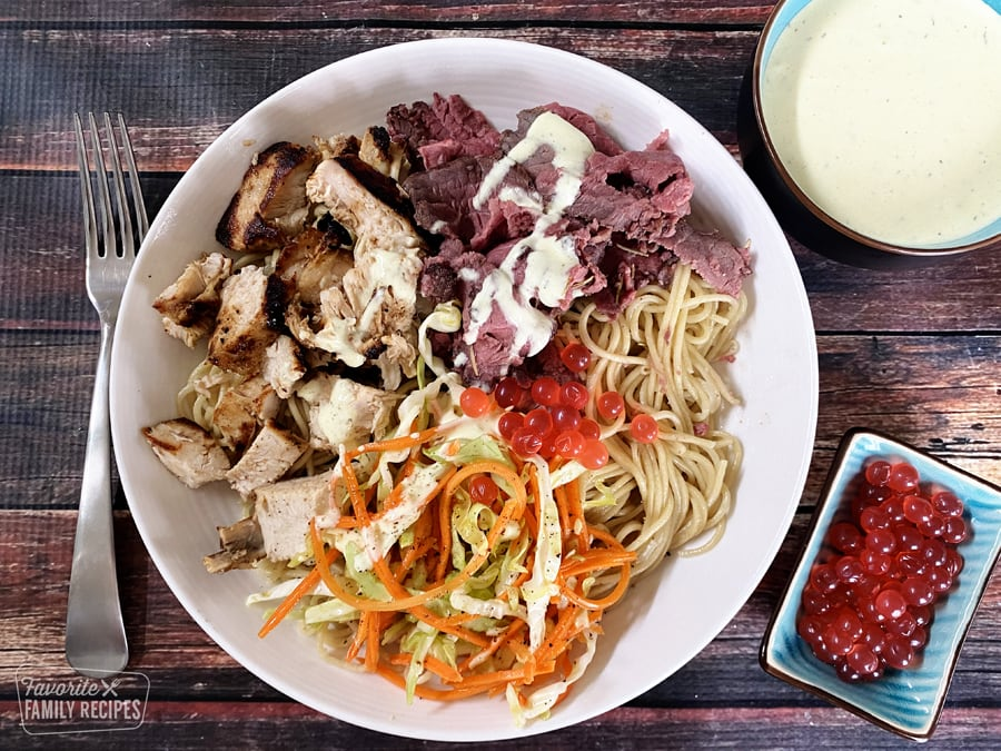 Satuli bowl with noodles, chicken, and beef